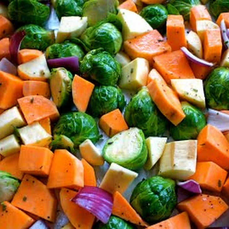 Roasted Sweet Potatoes, Yams, and Brussels Sprouts with Fresh Rosemary ...