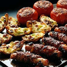 Glazed Bacon-wrapped Pork Sausages with Crispy Cheese Potato Skins