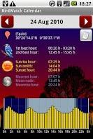 Screenshot of BirdWatch Calendar