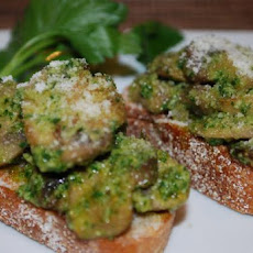 Wild Mushroom and Pesto Crostini