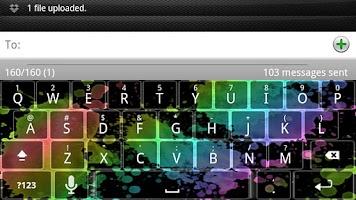 Screenshot of Rainbow Splatter Keyboard Skin