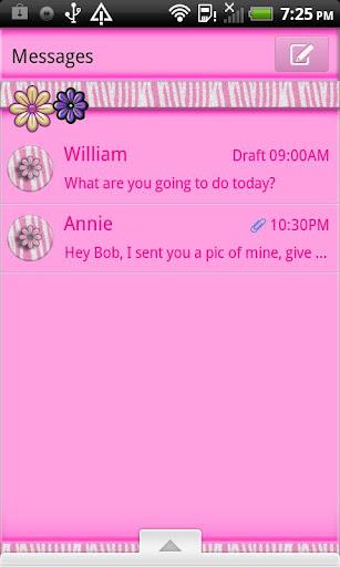 GO SMS THEME PinkZebra4U