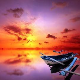 kapal biru by Indra Prihantoro - Transportation Boats ( sunset, boats )