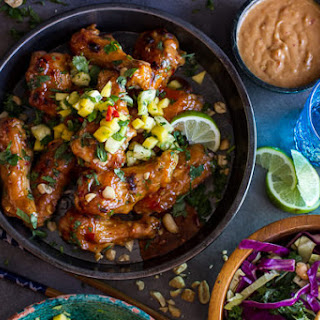 Thai Peanut Chicken Wings with Fiery Pineapple-Jalapeño Salsa.