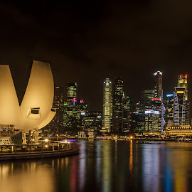 The Office Scape by JJ - Buildings & Architecture Office Buildings & Hotels ( marina singapore barrage night photography )