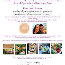 A Unique 4 Course Pop Up Supper with Alternative Organic blend of Ayurvedic and Raw Vegan Food & Sacred Chanting