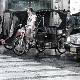 Pedicabs Stopped at Red Light by Marcia Geier - Transportation Bicycles