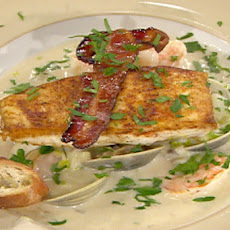 Pan-Roasted Halibut in a Shrimp Chowder with Steamed Cherrystone Clams and Apple-Smoked Bacon