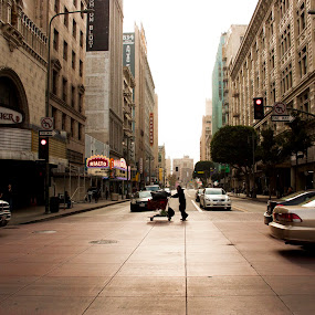 Los Angelsleft by Ryan Smiley - City,  Street & Park  Street Scenes ( los angeles la downtown street urban depthoffield colorful architecture buildings old signs homeless man car,  )