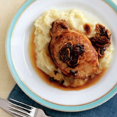 Pork with Fig Sauce and Cauliflower Puree