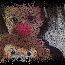 LITTLE CLOWN GIRL IN PIECES by TONY LOPEZ - Digital Art People ( abstract, pieces, girl, red, toy, clown, sad, art, cubes, cube, digital )