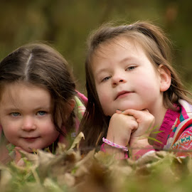 Autumn Sessions by Dominic Lemoine Photography - Babies & Children Child Portraits ( girls, lying, grass, outdoors, leaves, siblings )