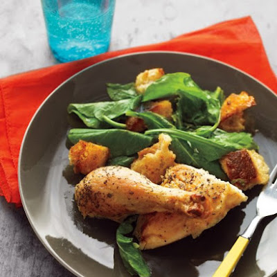 Roast Chicken with Croutons and Wilted Greens