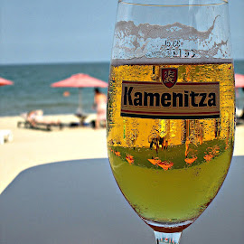 Cool Kamenitza by Glyn Thomas Jones - Food & Drink Alcohol & Drinks ( beaches, black sea, beer, beautiful, glass, seascape, beach, summertime, heat, bulgaria,  )