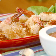Coconut Shrimp with Curried Tomato, Lime and Roasted Garlic Coulis