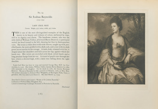 """Portraits of nobles reflect the aspirational striving of Gilded Age collectors. <i>Lady Cecil Rice</i> by Sir Joshua Reynolds belonged to Edward Rathbone Bacon, as documented in this 1919     <a href=""""http://nyarc.org/digital_projects/gilded_age/31072002113662.pdf#view=Fit"""">catalogue</a>."""