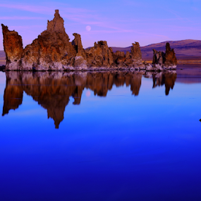 Blue Suede Shoes by Dennis Ducilla - Landscapes Waterscapes ( blue, alpen glow, mono lake, california, sunset, ducilla, evening, tufa structures )
