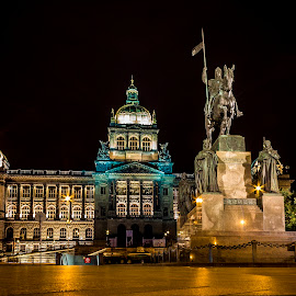 Wenceslas Square by Martin Jahn - Buildings & Architecture Public & Historical ( wenceslas, czech republic, night, museum, prague )
