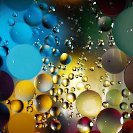 Floating Art by Janet Herman - Abstract Macro ( water, abstract, oil and water, macro, floating, reflections, spheres, oil )