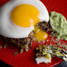 Black Bean Cakes with Fried Eggs and Avocado Crema