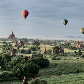 Balloons over Bagan  by Etienne Bossot - Landscapes Travel ( temples, myanmar, asia, sunrise, bagan, balloons,  )