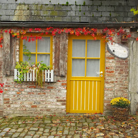 Durbuy house by Brigitte Kouwenhoven - Buildings & Architecture Homes ( fall, door, belgium, yellow, house )