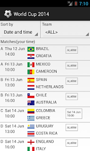World Cup 2014 Schedule - screenshot