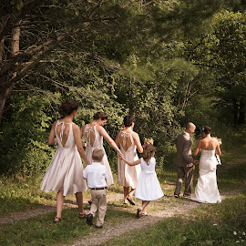 Walking to the Reception by Jenna Rortvedt - Wedding Groups ( bridesmaids, ring bearer, new york wedding, flower girl, wedding party,  )