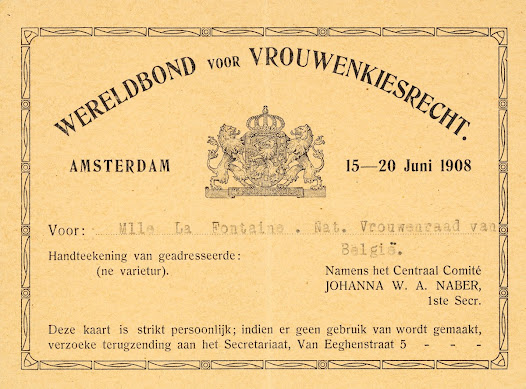 "Léonie La Fontaine's membership card for the ""Wereldbond voor Wrouwenkiesrecht"" (International Women's Suffrage Alliance)"