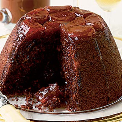 Chocolate & Apricot Pud With Glossy Chocolate Sauce