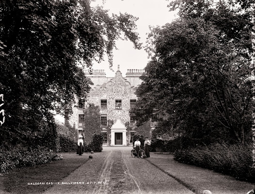 Women with bicycles at Galgorm Castle, Ballymena, Co. Antrim. (L ROY 5717).