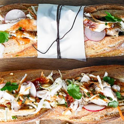 Chicken And Slaw Baguette With Hazelnut Dressing