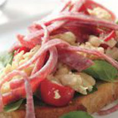 Salami, White Bean and Watercress Crostini