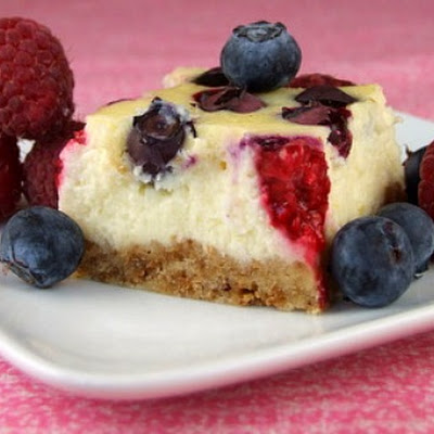 Red, White and Blueberry Cheesecake Bars
