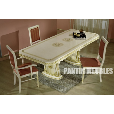 acheter table rallonge rectangle rossella beige pantin chez pantin meubles dilengo. Black Bedroom Furniture Sets. Home Design Ideas