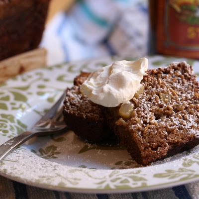 Oatmeal Stout Cake with Apples & Whisky Cream