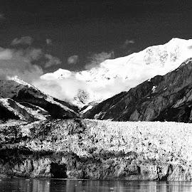 Hubbard Glacier, Glacier Bay, Alaska by Dan Dusek - Landscapes Travel ( glacier, mountains, black and white, seascape, landscape,  )