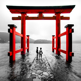 Journey by William Cheang - Buildings & Architecture Places of Worship ( japan, torii, blackwhitered, lake ashi, hakone )