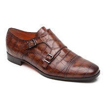 Santoni Crocodile Effect Buckle Shoe CROC SHOE