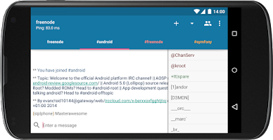 Screenshot of AndroIRC