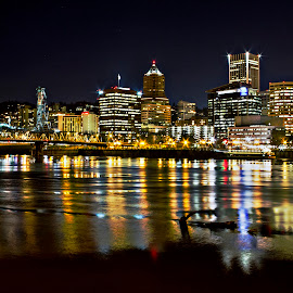 Take Two by Jesse Brown - City,  Street & Park  Night ( #portland #hawthornebridge #bridgecity #waterfront #longexposer #jessebrown )