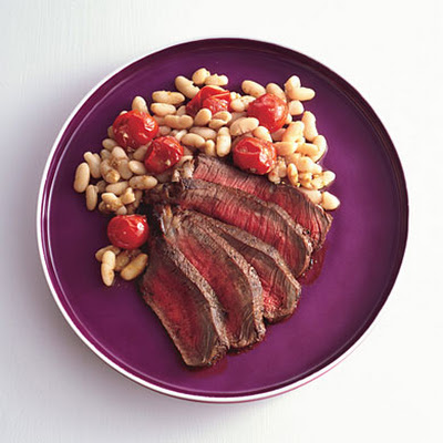 Spice-Rubbed Steak with White Beans and Cherry Tomatoes