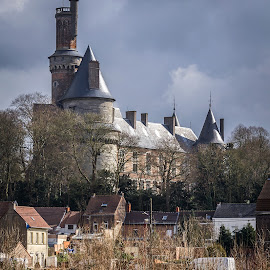 Antoing Castle by Arti Fakts - City,  Street & Park  Historic Districts ( water, houses, street, belgium, heavy, sunlight, artifakts, antoing, city, tower, sky, trees, castle, medieval, light, river )
