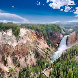 Yellowstone Falls by Ankit Saxena - Landscapes Mountains & Hills ( water, yellowstone, mountains, hdr, green, waterfall )