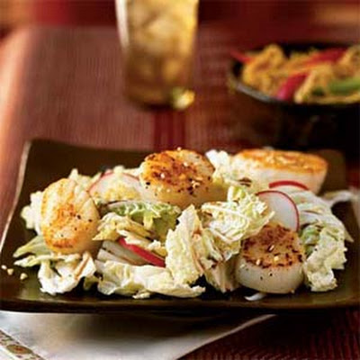Seared Sea Scallops on Asian Slaw
