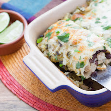 Chicken & Black Bean Enchiladas with Roasted Salsa Verde & Monterey Jack Cheese