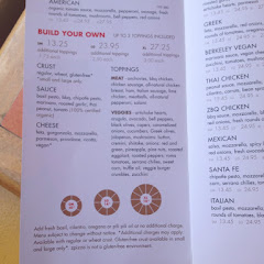 Menu at zPizza - they have a special menu at the register showing which toppings are GF.