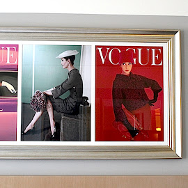 Vogue by Ronnie Caplan - Artistic Objects Other Objects ( vogue, magazine covers, horizontal, framed, beige, pictures, hotel, wall, room )