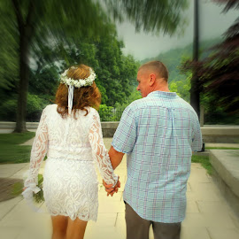 Walking In To Life Together by Lisa Manyette - Wedding Bride & Groom (  )