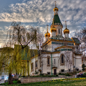 st. Nikolai church by Anton Donev - City,  Street & Park  City Parks ( famous, old, christianity, dome, architecture, willow, spring, religion, saint nikolay, sky, locations, buildings, bulgaria, clouds, church, orthodox, traditional, places, history, european, cities, blue, trees, day, culture, sofia )